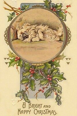 Sleepy Pekingese Puppy Dog by Mabel Gear 1930's LARGE New Christmas Note Cards