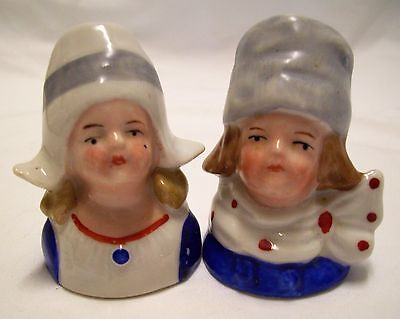 Vintage Porcelain Salt Pepper Shakers Dutch Boy Girl Hand Painted