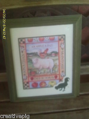 Wooden Framed Matted Colorful Print of Sheep Lamb Rooster Apples Countryside