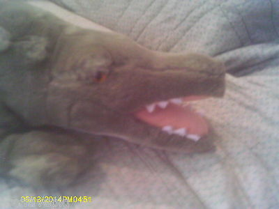 Plush Realistic Green Aligator or Crocodile with Yellow Eyes & Open Mouth