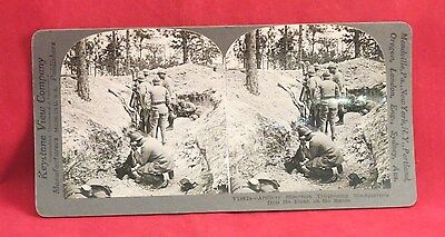Vintage Keystone Stereoview Card of WW I French Artillery Observers