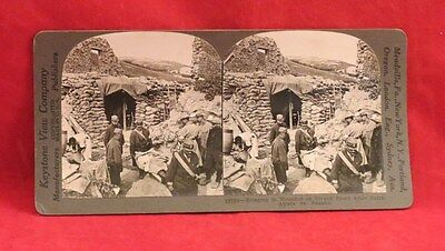 Vintage Keystone Stereoview Card of WW I Scene with Wounded Soldiers