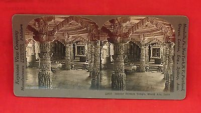 Vintage Keystone Stereoview Card - The Dilwara Temple, Mount Aba, India
