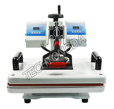 "More efficient! New 110V 11.4*14.9"" Dual Temperature Control Heat Press Machine"