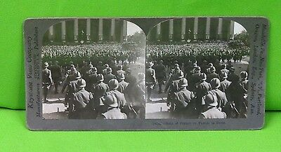 Vintage Keystone Stereoview Card of WWI French Troops Marching in Paris