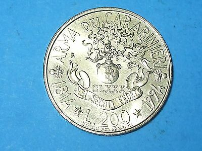 1994 200 Lire Italy Rome 180Th Anniversary Unc  - Collectable World Coin