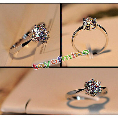 Fashion Women 925 Sterling Silver Jewelry Filled Wedding Engagement Crystal Ring