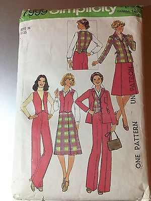 Simplicity VTG 7999 Womens Jacket Vest Pants Skirt Sewing Pattern SIZE 14 CUT