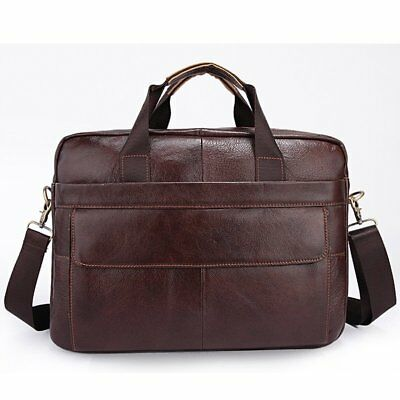 Mens Genuine Leather Briefcase Handbag Travel Messenger Shoulder Laptop Tote Bag