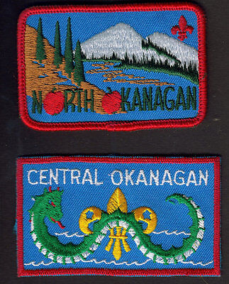 Boy Scouts Canada (2) Two Okanagan North & Central Ogopogo Embroidered Patches
