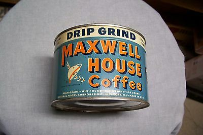 Unopened Maxwell House Drip Grind Coffee Tin Can Sealed NOS Key Wind 1945 Dated
