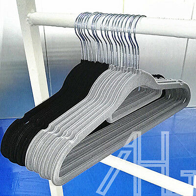 50X Quality Non Slip Flocked Velvet Hanger Coat Clothes Trouser Hanging Hangers