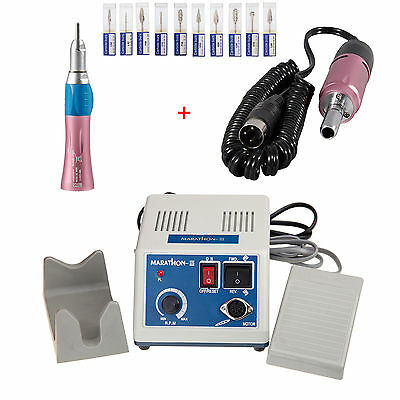 Dental Marathon Electric Micro Motor Polisher 35K rpm w/Straight w/Burs Pink SVT