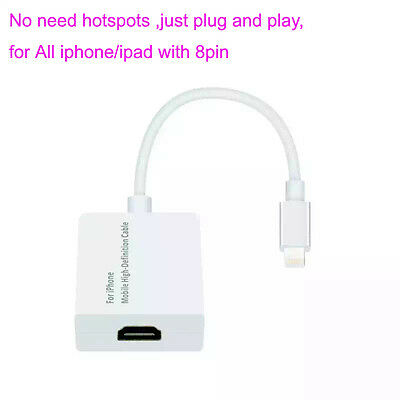 Dock HDMI TV Video Adapter Cable For All Lightning iPad iPhone 7 6 6S Plus 5 5S