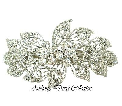 Anthony David Bridal Silver Metal Clear Crystal Hair Accessory Clip