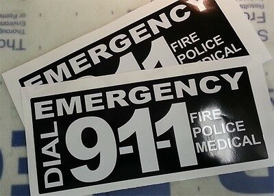 1 Pair of 911 EMERGENCY Decals for your Police Car or Fire Truck Restoration
