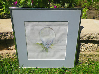 Strange Flying Brain Alien Gray Drawing Painting Sketch Mind Control Framed UFO