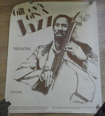 GILBEY'S Dry GIN Ron Carter Wall Art Poster 24x30 Jazz Music 80s Man Cave Ad