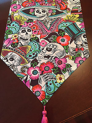 Sugar Skulls Hats Day of the Dead Pink & White Cotton Table Runner-ThemeRunners