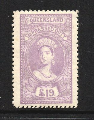 Queensland  Revenue 1895 Q.Victoria Impressed  Duty   £19 Pound  CTO Mint/H