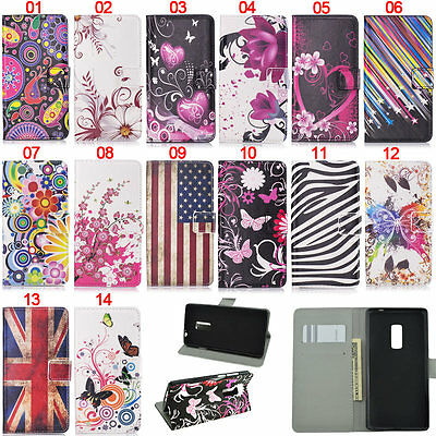 Butterfly Heart Wallet Leather Flip Case Cover Stand Card Holder For OnePlus One