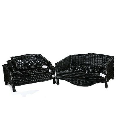 Wicker Pet Basket In Black Square Shape For Dog And Cat With Free Soft Pillow