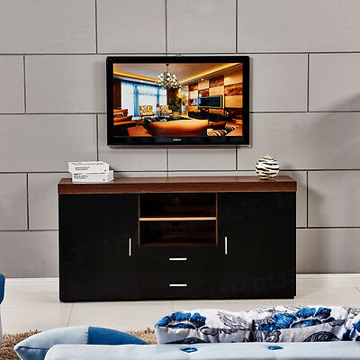 BN  Wood TV Stand TV Unit Cabinet With Drawers Shelf Living Room Black&Walnut
