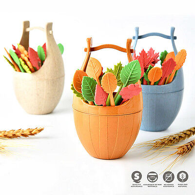 Hot 16pcs/Set Leaves Shape Vegetable Fruit Salad Fork Table Decor Tools