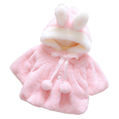 Baby Infant Girls Fur Winter Warm Coat Cloak Jacket Thick Warm Clothes 80