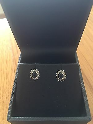9ct Yellow And White Gold Sapphire And Diamond Earings