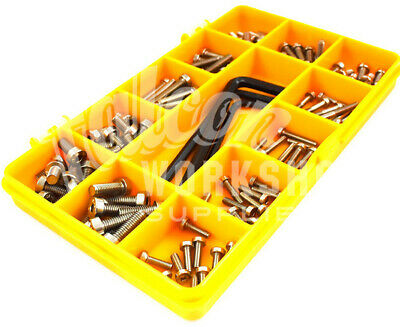 120 Assorted A2 Stainless M3 M4 M5 Low Head Socket Caps Bolt Screw Allen Key Kit