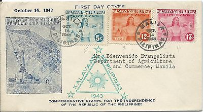 FDC 1943 Independence set of 3 Manila Cancel 14 Oct & Green cancel