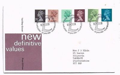 1980 Post Office FDC - 6 New Definitive Stamps  - issued 30 January 1980