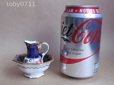 SPODE ? / COALPORT ? MINIATURE WASH JUG & BASIN HP ROSES SNAKE HANDLE (Ref1591)