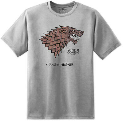 Mens Game Of Thrones House Stark Dire Wolf Distressed Print T Shirt Lannister