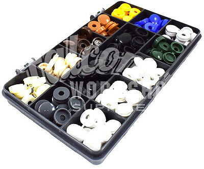 119 ASSORTED SMALL 6g 8g PLASTIC HINGED SCREW COVER CAPS SIGN MAKERS CAR KIT