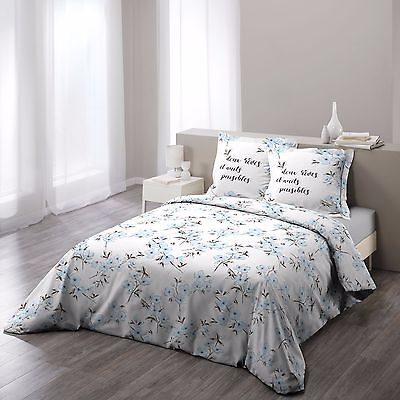 "Housse de couette + 2 taies 220x240cm ""ASHLEY BLEU"" 100% Coton 57 Fils"
