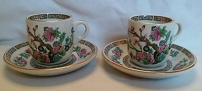 """Pair of Maddock """"Indian Tree"""" Pattern Cups and Saucers."""