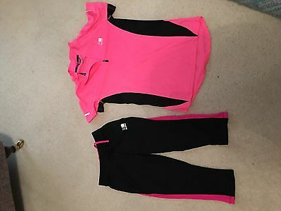 Karrimor Short Sleeve Sports Top And Cropped Leggings Size 8 Vgc