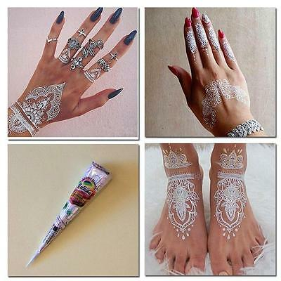 Natural Herbal Henna Cones Temporary Tattoo kit White Body Art Paint MehandiLYF