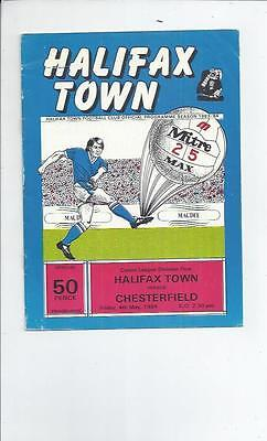 Halifax Town v Chesterfield Football Programme 1983/84