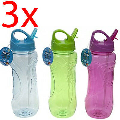 3 X 800Ml Flip Nozzle Drinking Water Bottle Hiking Camping Sports Hydration Gym