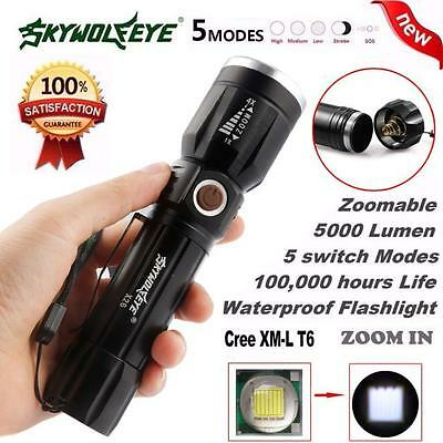 5000Lumen 5 Modes Zoomable CREE XM-L T6 LED 18650 Battery Flashlight Focus