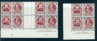 Australia 1951 Dicovery SG245-246 Gutter pair block of 8 & block of 4  mint