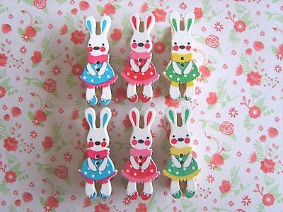 Easter Bunnies Wooden Pegs Clips Card Holder Craft Decor -Pack of 6 Designs - UK