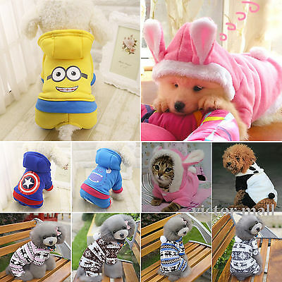 Small Pet Dog Puppy Cat Sweater Coat Hoodie Clothes Winter Warm Costume Apparel