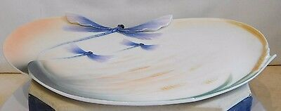 "FRANZ PORCELAIN ~  7"" x 10.50"" DRAGONFLY & WHEAT EAR ORNAMENTAL TRAY ~ XP1902"