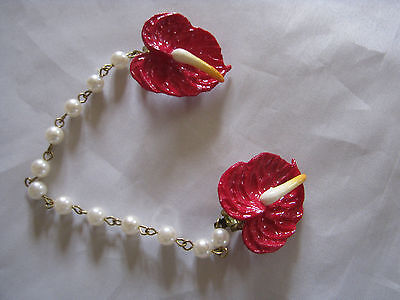 Vintage 1950's Faux Pearls Red Dragon Celluloid Flowers Sweater Guard Marked Ger