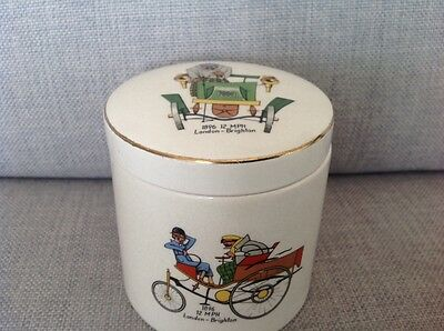 Vintage Sandland Ware preserve pot decorated with London to Brighton car rally