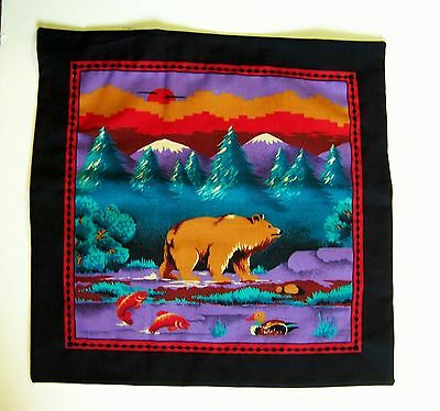 "Brown Bear Trout Stream Mountain Square 14 Inch Envelope Cover 12""  Pillow Cover"